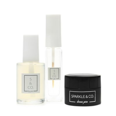 REGULAR POLISH (NOT GEL) Chrome Pure Mirror Powder Basic Kit by Sparkle & Co.